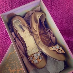 Miu Miu gold leather ballerinas